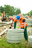 Concrete circles at road construction Stock Images
