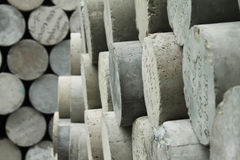 Concrete circular bar. Concrete squares are arranged prepared to apply Royalty Free Stock Image