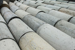 Concrete circular bar. Concrete squares are arranged prepared to apply Stock Image