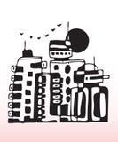 Concrete city. Hand drawn illustration of a concrete city outline Stock Photography