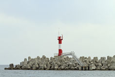 Concrete coastal fortifications in sea port of Sochi Royalty Free Stock Photography