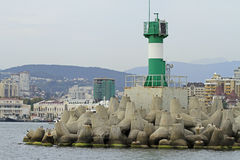 Concrete coastal fortifications in sea port of Sochi Stock Image