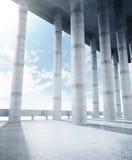 Concrete collumn hall Stock Image