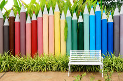 Concrete colored pencils fence Royalty Free Stock Image