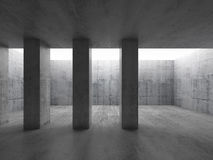 Concrete columns in empty room. 3d Stock Photo