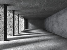 Concrete Columns Empty Room With Sunlight. Architecture Backgrou Royalty Free Stock Photo