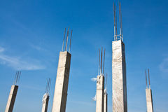 Concrete columns with reinforcing steel Stock Images