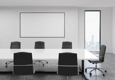 Concrete conference room with whiteboard. Side view of concrete conference room interior with blank whiteboard, table, chairs and New York city view. Mock up, 3D Royalty Free Stock Image