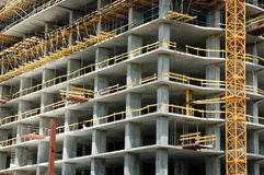Concrete construction. Concrete office building under construction royalty free stock photo