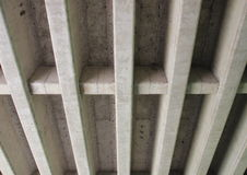 Concrete construction for highway bridge from beneath Royalty Free Stock Photo