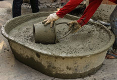 Concrete construction for road drain cover. Royalty Free Stock Images