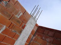 Concrete construction site with Brick wall. Concrete pillar construction site with wall of energy-efficient bricks Royalty Free Stock Image