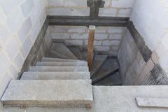 Concrete construction of the stairs. In new house Royalty Free Stock Photos