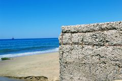 Concrete construction of storm water sewerage on the beach of Cleopatra Beach Alanya, Turkey Stock Images