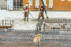 Concrete construction works are being carried out. Stock Photo
