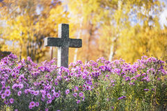 Concrete cross. In cemetery in autumn royalty free stock photography