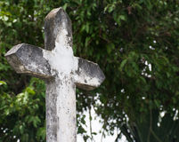 Concrete cross cemetery Royalty Free Stock Images