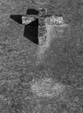 Concrete cross. Placed, on an old grave royalty free stock images