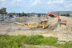 Concrete crushing machine Royalty Free Stock Image