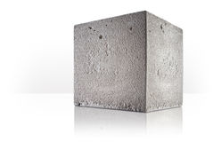 Concrete cube. Over white background Royalty Free Stock Photo