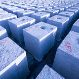Concrete cubes_1. Concrete blocks drying after being fabricated Stock Photography