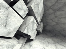 Concrete cubes abstract architecture background. 3d render illustration Stock Photos