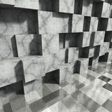 Concrete cubes abstract architecture background. 3d render illustration Stock Photo