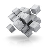 Concrete cubes blocks on white background. 3d render illustration Royalty Free Stock Photo