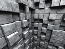 Concrete cubes chaotic pattern wall background. 3d render illustration royalty free illustration