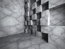Concrete cubes chaotic wall construction. Empty dark room interi. Or. 3de render illustration Royalty Free Stock Photo