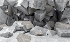 Concrete cubes wall vector illustration
