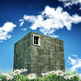 Concrete cubic house Stock Photos