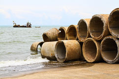 Concrete culvert. Pile of a concrete culvert for into an artificial reef Royalty Free Stock Images