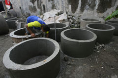 Concrete culvert. Workers are making a concrete culvert in Sukoharjo, Central Java, Indonesia Stock Photography