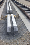 Concrete curb stones at tramway track construction site Stock Image