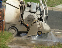 Concrete cutter. Cutting concrete stock image