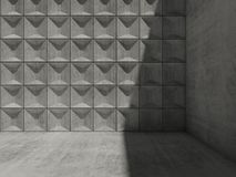 Concrete 3d interior with shadow corner. Abstract empty concrete room interior with shadow corner and relief tiling on wall, minimalism architecture, 3d render Royalty Free Stock Image