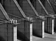 Concrete dam spillway flow control stations Stock Photos