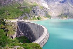 Concrete dam wall of Kaprun power plant. (no people), Salzburg Alps, Austria Royalty Free Stock Photo
