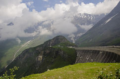 Concrete dam wall of Kaprun power plant. Alps, Austria royalty free stock photography