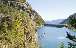 Concrete dam wall of Valley of Marvels. Alpes-Maritimes, France Royalty Free Stock Photography