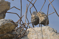 Concrete debris. Rubble of concrete debris with iron bars Royalty Free Stock Photography