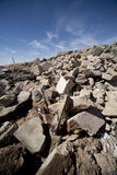 Concrete Debris. Tilted vertical image of pile of concrete debris Royalty Free Stock Image