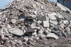 Concrete debris on construction site Stock Image