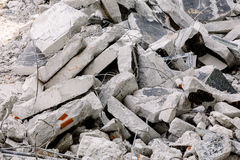 Concrete debris stacked into a wall Stock Image