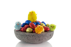 Concrete dish with easter eggs Stock Photos