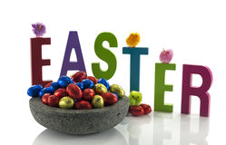 Concrete dish with easter eggs Stock Image
