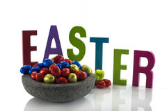 Concrete dish with easter eggs Royalty Free Stock Image
