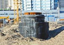 Concrete drain pit Royalty Free Stock Images