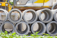 Concrete drainage pipe in construction site Royalty Free Stock Image